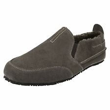 Mens Clarks Kite Laser Dark Grey Suede Leather Warm Lined Slippers G Fitting