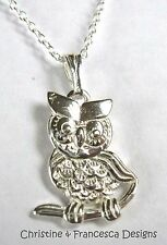 925 Sterling Silver OWL PERCHED ON BRANCH Bird Pendant Chain Necklace + Box +Bag