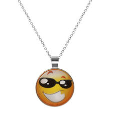 Fashion Emoji Funny Mood Face Glass Pendant Necklace Chain Jewelry Birthday Gift