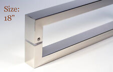 """Door Pull Handle Modern Square Long Entry Stainless Steel Polished Chrome - 18"""""""