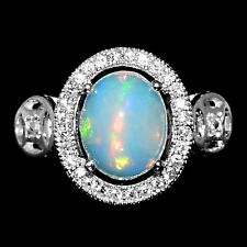 FANTASTIC 10X8mm HOT RAINBOW FIRE LUSTER OPAL-WHITE CZ STERLING 925 SILVER RING