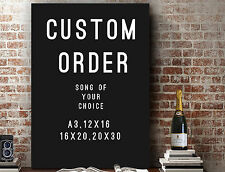 CUSTOM ORDER - Song of Your Choice: Typography Lyrics Unframed PRINT or CANVAS