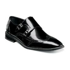 Mens Stacy Adams Leather dress shoes Double monk strap Brewster  25055-001 Black