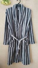 Luxury Mens GREY STRIPS Thermal Coral Fleece Dressing Gowns Super soft Bath Robe