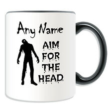 Personalised Gift Zombie Aim For the Head Mug Money Box Cup Walking Dead Devil