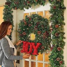 """30"""" Cordless Pre Lit Christmas Wreath Joy Marquee Outdoor Lighted Decor Greenery"""