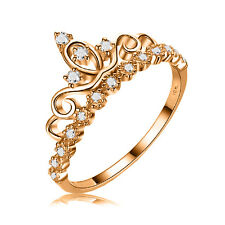 10K Yellow Gold Cubic Zirconias Princess Crown Ring