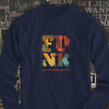 Funk Old School Vintage Music Classic Retro Disco Mens Navy Long Sleeve T-Shirt
