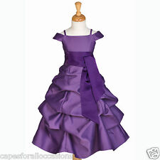 PURPLE PAGEANT FLOWER GIRL DRESS CAP SLEEVE 2 2T 3T 4 4T 5 6 6X 7 8 9 10 12 14