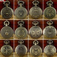 Bronze US Army Pendant Antique Pocket Watch Quartz Necklace Pendant Chain Gift