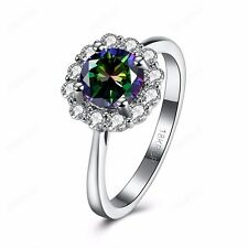 Fashion Colorful Cubic Zirconia Lady Wedding Flower Ring Platinum Plated Jewelry