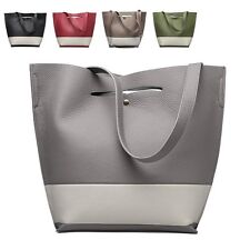 Fashion Patchwork Leather Women Handbags Large Bucket Tote Shoulder Bags