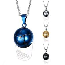 Mens Popular Stainless Steel Baseball Cap Ball Chain Pendant Clavicle Necklace