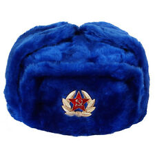 RUSSIAN MILITARY WINTER USHANKA HAT DARK BLUE WITH SOVIET BADGE!!! ALL SIZES!!!