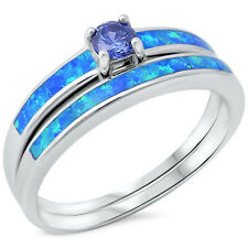 Blue Opal Round Tanzanite CZ Engagement Promise Sterling Silver Ring Size 4-11