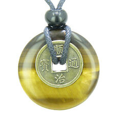 Antique Lucky Coin Evil Eye Protection Powers Amulet Tiger Eye Gemstone 30mm Don