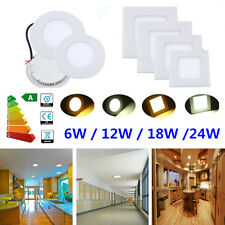 Bright 6W 12W 18W 24W LED Recessed Ceiling Lights Panel Downlight Lamps+Driver