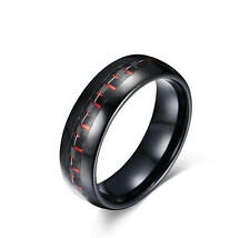 Mens Black Tungsten Carbide Wedding Anniversary Carbon Fiber Ring band Size 7-12