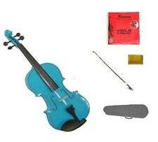 """New Student Blue Viola & Bow+Case+2 Sets of Strings+Rosin 16""""15""""14""""13""""12""""11""""10"""""""