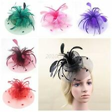 Women Wedding Hatinator Fascinator Hat Lady Races Feathers Veil Net Hat Clips UK
