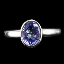 ALLURING NATURAL 1.35 CTS BLUE TANZANITE OVAL FACET GEM STERLING 925 SILVER RING