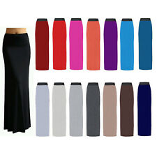 Ladies Womens Gypsy Long Jersey Bodycon Maxi Dress Skirt Ladies Skirt Size 8-26