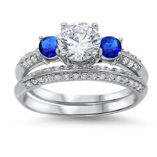 Clear Blue Sapphire CZ Engagement Wedding Genuine Sterling Silver Ring Size 4-11