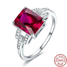Wedding Emerald Cut AAA Ruby White Topaz S925 Sterling Silver Ring Size 6 7 8 9