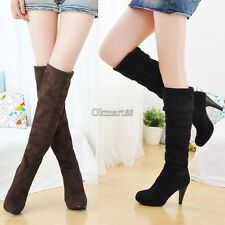Women Over Knee Faux Suede Stretch Thigh High Slouchy high Heel Boots Shoes OK