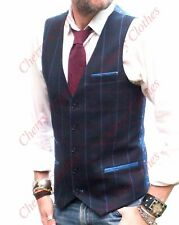 MENS NAVY BLUE WAISTCOAT VEST with BLUE & RED CHECK  -  SLIM FIT - ALL SIZES