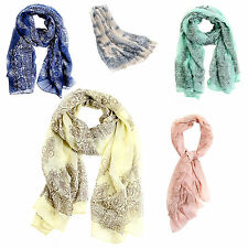Womens Candy Pure Colour Soft Long Voile Crinkle Wrap Shawl Scarf Stole BEB