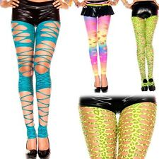 Sexy Shredded Torn Slash Distressed Hole Ripped Stirrup Neon Animal Print Tights
