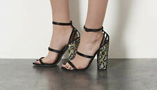 NEW TOPSHOP Revenge Silver Caged Back Leopard Block Heel Sandals UK 3 and 6
