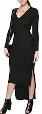 boohoo black long maxi Bodycon Dress long sleeve side split slit 8 small stripe