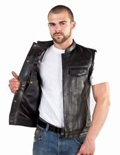 SOA-Mens Outlaw / Concealed Carry Leather Club & Biker Vest with Zipper & Snaps