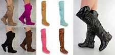 NEW Black Green Pink Brown Buckle Accents Thigh High Flat Boots Faux Suede