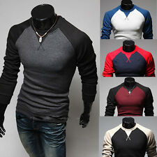 New Men's Fashion Casual Slim Fit crew neck Long Sleeve Tops Tee T-shirt XS-L