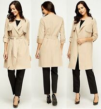 Womens Double Breasted Trench Mac Coat Ladies Fashion Belted Jacket