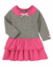NWT Gymboree Happy Elephant Ruffle Sweater Dress pink Gray SZ 6 9 12 18 24mo