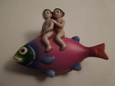Sergio Bustamante Sterling Ceramic Cherubs Riding Bass Fish Brooch Pin Pendant