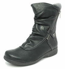 Womens Cats Eyes Leather Look Mid Calf Winter Boots Black Size 3 4 5 6 7 8 9