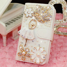 Crystal Diamond Crown Ballet Wallet Leather Case for iPhone for Samsung Galaxy