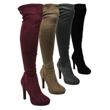 LILIANA GF77 Women's Sexy Stiletto Heel Over Knee High Platform Stretch Boots