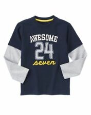 NWT Gymboree Boys SUNNY SPORTS Mock Layer Awesome 24 Seven Long Sleeve Tee Navy