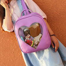 Fashion Women Transparent Heart Shaped Backpack Schoolbag Travel Hiking Bags