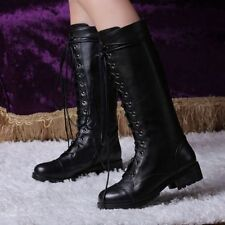 Women Warm Snow Round Toe Lace Up Winter Boots Knee High Boots Leather Shoes