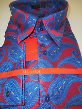 Mens Red Bold Blue Paisley Medallion High Collar Cuffed Leonardi Shirt Style 334