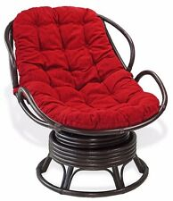 Handmade Rattan Wicker Swivel Rocking Chelsea Papasan Chair with Red Cushion.