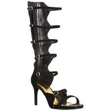 Qupid LAGOON-09 Women's Strappy Multi Buckle Under Knee High Gladiator Sandals