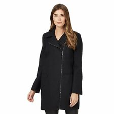 The Collection Womens Navy Textured Asymmetric Zip Coat With Wool From Debenhams